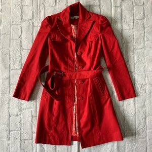 Cherry red Kenneth Cole trench coat size XS